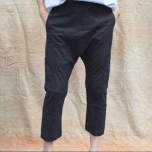 Pietsie Fez Pants Black Cotton Drop Crotch Cropped